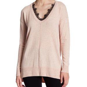 Blush pink Topshop sweater V-neck lace trim